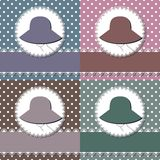 Four decor backgrounds with lady with hat Royalty Free Stock Photos