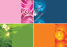Four decorative backgrounds for cards Royalty Free Stock Images
