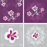 Four decorative elements with stylized pelargonium flowers Royalty Free Stock Image