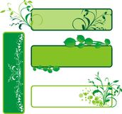 Four decorative floral banners Stock Photo