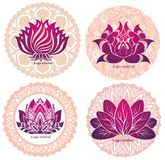 Four decorative lotuses symbol Stock Photography