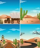 Four desert scenes with cactus in the field. Illustration Royalty Free Stock Photo