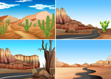 Four desert scenes with empty roads. Illustration Royalty Free Stock Photos