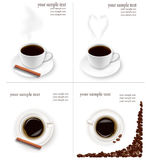 Four design backgrounds with coffee. Royalty Free Stock Photos