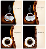 Four design coffee backgrounds. Royalty Free Stock Photos