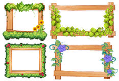 Four design of wooden frames Stock Photo
