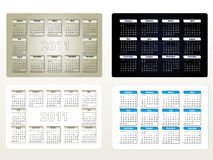 Four designs of calendar for 2011 (sun-sat) Stock Photography