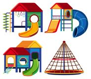 Four designs of playhouse with slide and climbing pole. Illustration Stock Photography