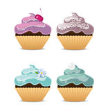 Four dessert cupcakes Royalty Free Stock Image