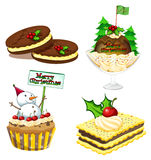 Four desserts for christmas Royalty Free Stock Photography