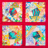 Four details of hand made patchwork quilt Stock Photography