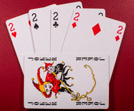 Four deuces and joker Royalty Free Stock Images