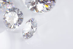 Four Diamonds With Copy Space. Four diamonds on white with copy space royalty free stock photos