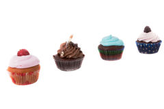 Four diferent cupcakes Royalty Free Stock Photos