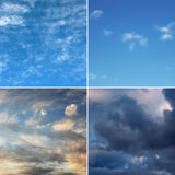 Four diferent images of sky. Stock Photos