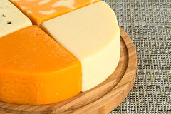 Four Differenct Pieces of Cheese Royalty Free Stock Images