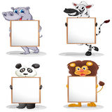 Four different animals with empty whiteboards Stock Photos