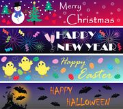 Four different banners. Illustration of four different seasonal banners Royalty Free Stock Photo