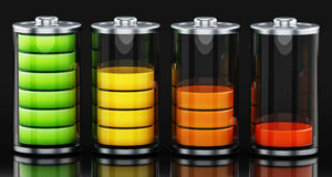 Four different battery levels. 3D illustration. Four different battery levels on black background. 3D illustration Stock Photography