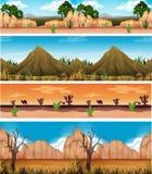 Four Different Beautiful Desert Landscape royalty free illustration