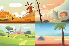 Four different beautiful scenes of nature Royalty Free Stock Image