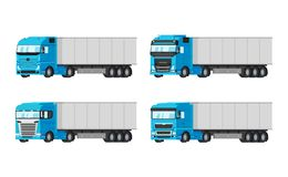 Four different blue trucks for delivery goods vector flat design isolated on white background. Delivery, cargo. Infographic elements Stock Photography