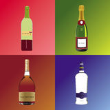 Four different bothles with alcoholic drinks. This is an illustration with four bottles with alcoholic drinks representing four classic drinks : red wine royalty free illustration