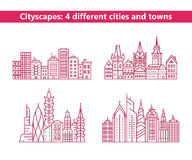 Four different cities and towns Royalty Free Stock Photo