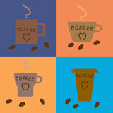 Four different coffee cups and beans Stock Photos