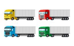 Four different color trucks for delivery goods vector flat design isolated on white background. Delivery, cargo. Infographic elements Royalty Free Stock Photos