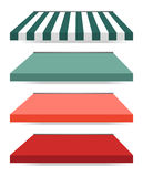 Four different colored  awnings Royalty Free Stock Photos