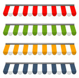 Four different colored  awnings Royalty Free Stock Photo