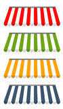Four different colored  awnings Stock Photo