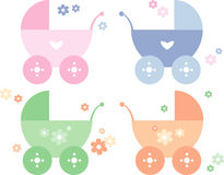 Four different colored baby prams Royalty Free Stock Images