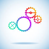 Four different colored gears. Represent the mechanism. Vector Graphics Stock Images