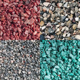Four different colored and natural crushed stones Stock Photo