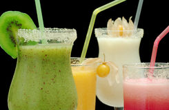 Four Different Colored Smoothies Stock Image