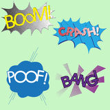 Four different colorful sound effects comics, boom, crash, poof Stock Image