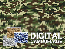 Four different colors digital camouflage military pattern for background, clothing, textile garment, wallpaper || Very easy to use Royalty Free Stock Photos