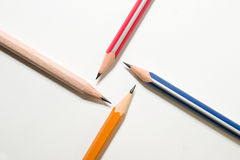 Four different colors of pencil on over white Royalty Free Stock Photography