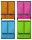 Four different colors of a wooden cabinet Royalty Free Stock Photography