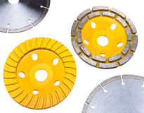 Four different construction diamond disks for concrete processing Royalty Free Stock Photo
