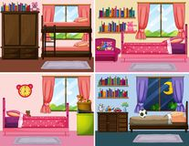 Four different designs of bedrooms in the house. Illustration Royalty Free Stock Images