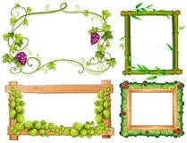 Four different designs of frames with green leaves. Illustration Royalty Free Stock Photos