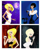 Four different elegance woman. Illustration vector Royalty Free Stock Images
