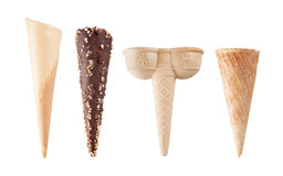 Four different empty ice-cream cones isolated on white Royalty Free Stock Photography