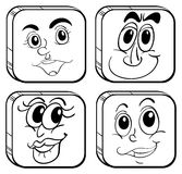 Four different faces inside the cubes. Illustration of the four different faces inside the cubes on a white background Royalty Free Stock Photo