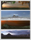 Four different fantasy landscapes for banner,. Background or illustration. with clouds, mountains and sunset Royalty Free Stock Photography