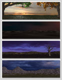 Four different fantasy landscapes for banner,. Background or illustration. with clouds, mountains and sunset Stock Image