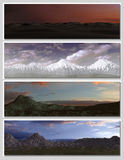 Four different fantasy landscapes for banner,. Background or illustration. with clouds, mountains and sunset Stock Photos
